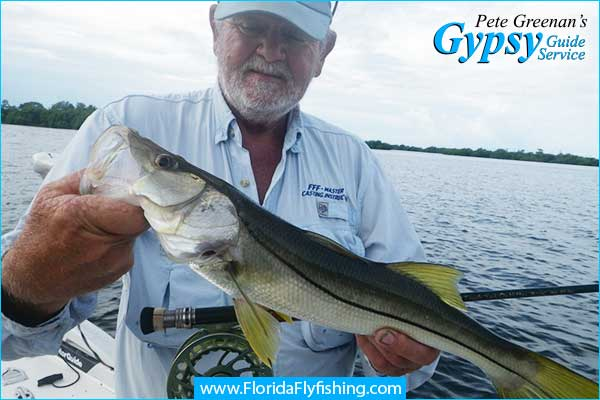 Capt. Pete Greenan with a Boca Grande Snook caught flyfishing